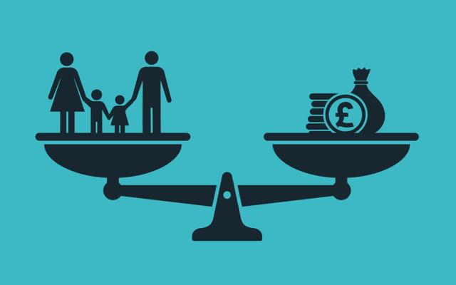 Image representing the balance between people and money in welfare systems