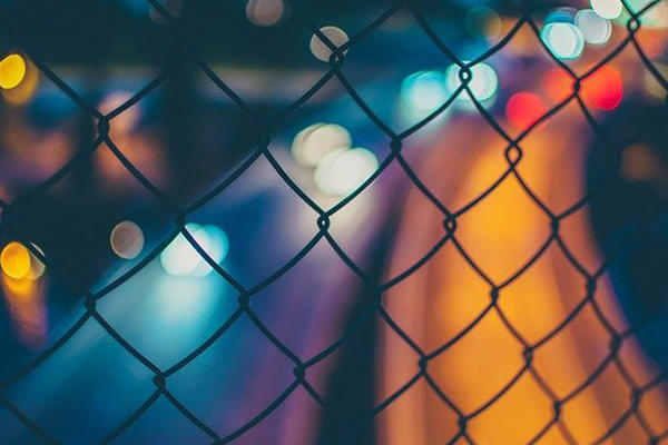 Wire fence at night