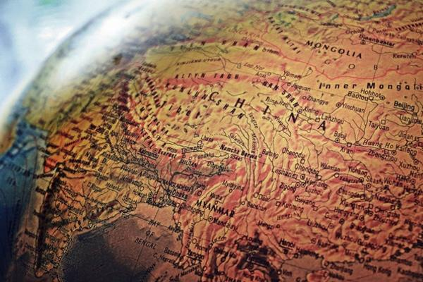 Desktop globe showing China