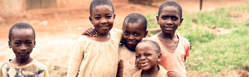 a group of African children