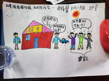 Chinese child's drawing of a home and family with a car